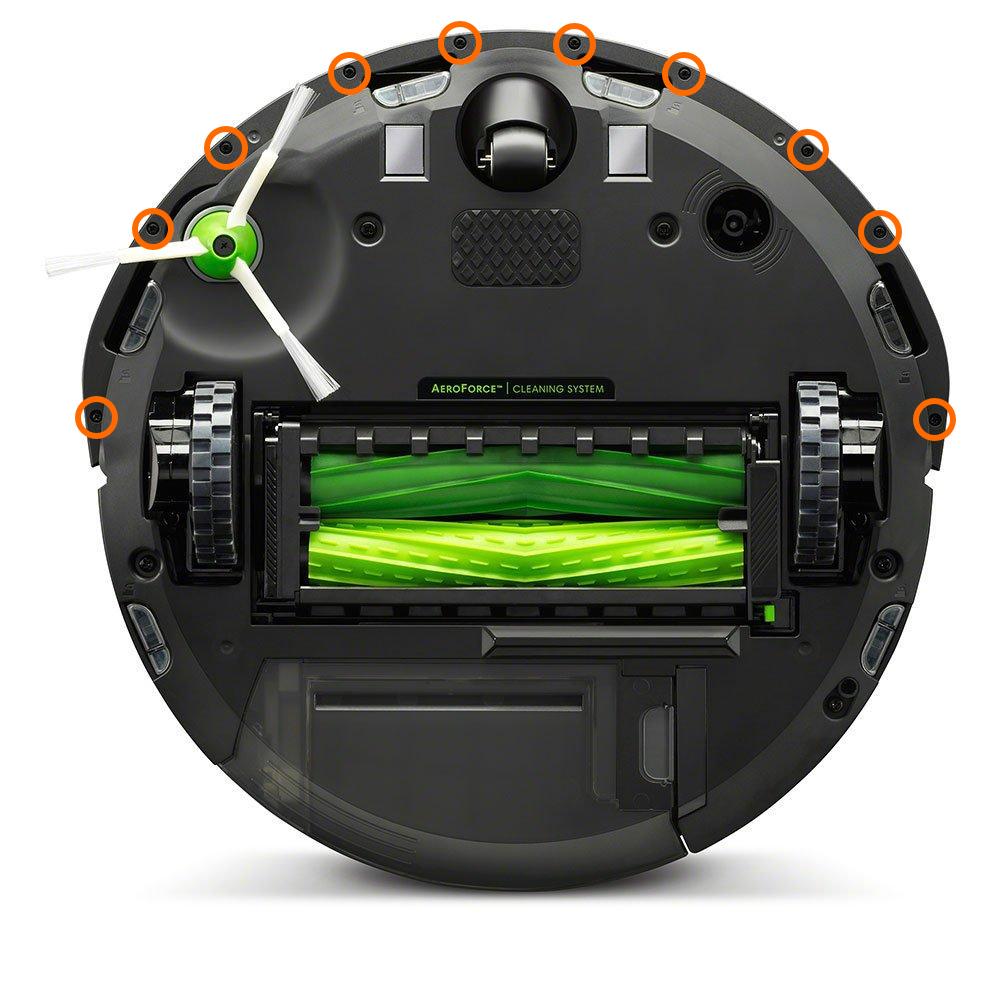 Unterseite des iRobot Roomba i7 mit markierten Schrauben